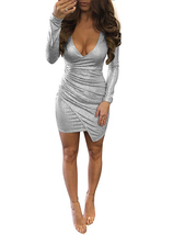 Silver Wrap Style Long Sleeve Dress - Shimmering Fabric / Mini Cut - $24.00