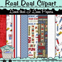 Land that I Love Digital Scrapbook Papers, Instant Download, Commercial ... - $1.35