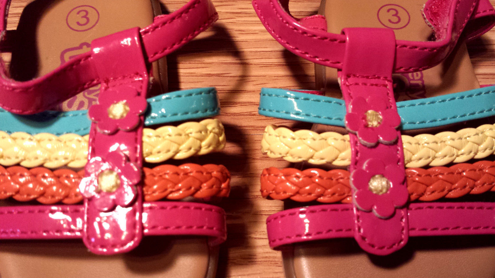 NWOT Girl's Size 3 Pink/ Orange/ Yellow/ Blue Teeny Toes Baby Infant Sandals
