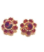 Vintage Rivioli Rhinestone Clip Earrings Autumn... - $17.64