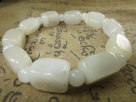 Real 100 % White Jade Stone Bracelet Magic Charm Top Thai Buddha Amulet Ama110 - $9.99