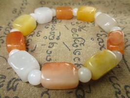 Real 100 % Multi-Color Jade Stone Bracelet Magic Charm Thai Buddha Amulet Ama113 - $7.99