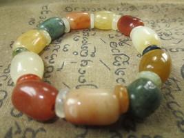 Real 100 % Multi-Color Jade Stone Bracelet Magic Charm Thai Buddha Amulet Ama112 - $9.99