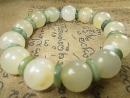 Real 100 % White Jade Stone Bracelet Magic Charm Top Thai Buddha Amulet Ama109 - $9.99