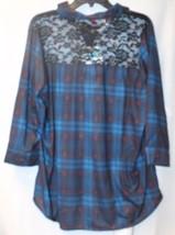 Gorgeous New Womens Plus Size 3X Blue Plaid Black Lace Yoke Back Knit Shirt Top - $19.34