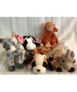 5 TY BEANIE BABIES Bongo Frisco Goatee Daisy & Bernie Dog Cat Cow Goat M... - $46.74