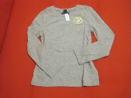 GAP Kids Girls Tee Shirt 6 7 Grey Yellow Embellished Long Sleeve Crew Ne... - $14.99