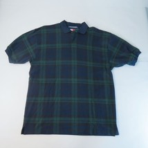 Tommy Hilfiger Blue and Green Plaid Polo ShirtMen's Size Medium - $10.36