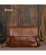 Handmade Men Genuine Leather Classic Vegetable Tanned Leather Shoulder Bag - $89.99+