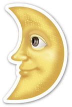 Emoji Moon looking left shaped vinyl sticker 100mm or 150mm app iPhone iPad - $3.00+