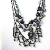 Vintage 1928 Rhinestone Necklace Lot of 2 plus unsigned purple floral fl... - $26.68