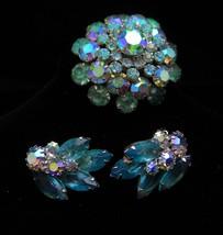Vintage Rhinestone Brooch Earrings 1940s aquamarine aurora borealis blue... - $125.00