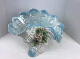 Capodimonte Scalloped Edge Bowl Centerpiece Base Made In Italy Iridescent - $64.35