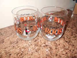 NEW COCKTAIL GLASS SET OF 2 HALLOWEEN IM HERE FOR THE BOOS FUN 4.25 X 3.... - $10.39