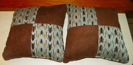 Pair of Blue Brown Abstract Print Patchwork Print Throw Pillows  18 x 18 - $49.95