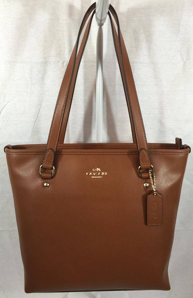 Primary image for NWT COACH ZIP TOP TOTE IN CROSSGRAIN LEATHER HANDBAG GOLD/SADDLE F36632 $295