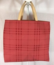 Authentic Burberry small Nova Check Tote Handbag Limited Edition Vintage cherry - $144.59