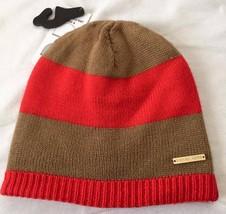 MICHAEL Michael Kors  Striped Ribbed-Trim Rebersible hat , camel/orange $48 - £12.86 GBP