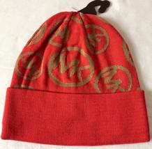 MICHAEL Michael Kors  Logo-Print Cuffed Beanie Hat, Coral Reef/Dark Came... - $18.03
