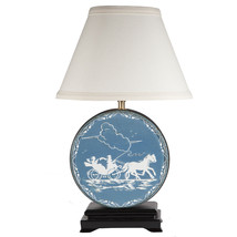 FREE SHIP: Vintage Blue White Round Tin Upcycled Lamp with New Lamp Shade - $102.85