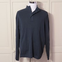 CK CALVIN KLEIN NAVY BLUE XXL HALF ZIP SNAP MOCK NECK SWEATER MENS NWT -I - $27.43