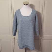 Alfani Woman Size XL Blue Scoop Neck Thin Knit Sweater Textured Sequins -H - $12.34