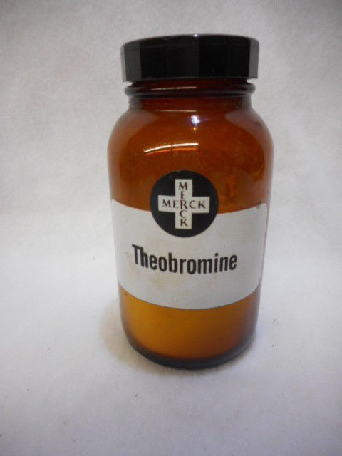 "Vintage Merck Apothecary Jar Bottle Theobromine Merck 5"" Tall Contents Unknown"