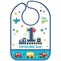 Boy's 1st Birthday Bib with Trains & Cars - $7.85
