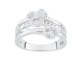 Ring Cacharel with stones in bloom and leaf  (CSR358Z), Sterling Silver ... - £50.33 GBP