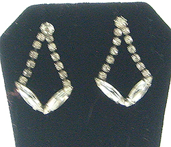 Vintage Rhinestone Dangle Earrings Clear Pierced - $8.50