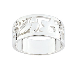 Ring Cacharel with flower and bird (CAR114), Sterling Silver 0,925 - £27.58 GBP