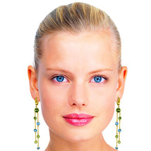 8.99 Carat 14K Solid Gold Chandelier Earrings Peridot Blue Topaz Womens Girls - $795.47