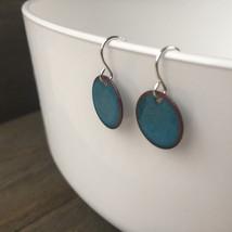 Enameled Earrings / Copper disk, silver dangle ... - $24.85