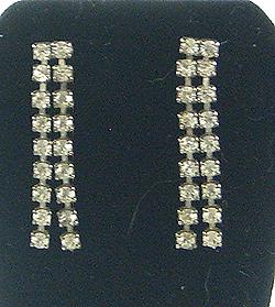 V94 double strand rhinestone earrings