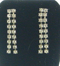 Vintage Double Strand Rhinestone Earrings Pierced Clear Color - $7.50