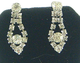 Vintage Rhinestone Teardrop Earrings Clear Stones - $9.50