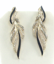 VintageRhinestone Black Enamel Gold Tone Earrings Feather Shape - $9.50