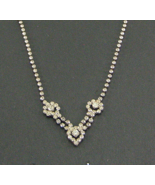 Vintage Rhinestone Necklace Floral Teardrop Pattern  Clear Stones - $12.99