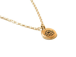 Gold Filled Blooming Lotus Flower Stamped Neckl... - $16.50