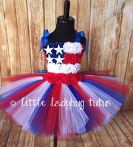 American Flag Tulle Tutu Dress, July 4th Tutu Patriotic Tutu Military Ho... - $40.00+