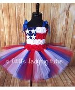 American Flag Tulle Tutu Dress, July 4th Tutu Patriotic Tutu Military Ho... - $40.00+