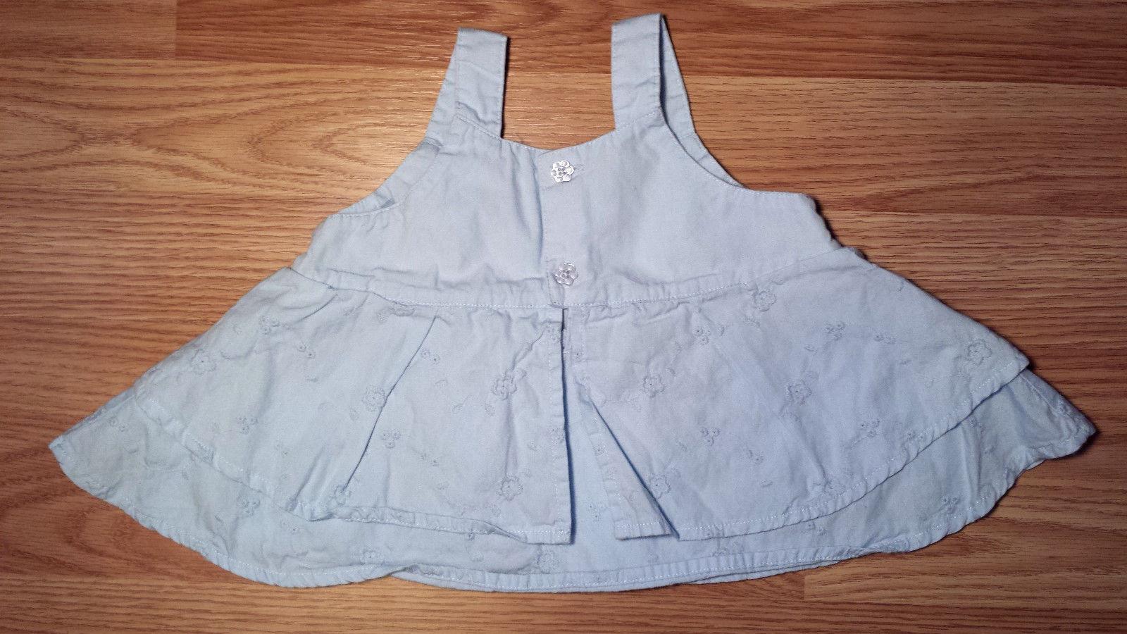 Girl's Size 6 M Months 2 Pc Blue Floral Eyelet Embroid Carter's Dress, Satin DC