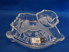 Mikasa Crystal Rocking Horse Bowl Dish 7.5 inches Christmas Germany Cele... - $4.99