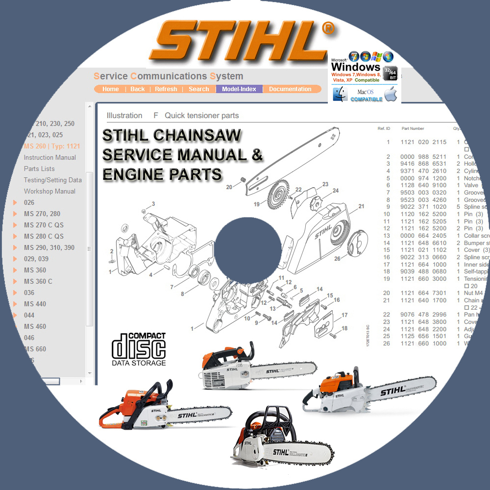 STIHL CHAINSAW MS270 MS280 MS290 SERVICE REPAIR MANUALS & ENGINE PARTS  CATALOG C - $10.00