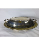 Antique Silver/Silver Plate Crescent MFG Silver Ware Oval Lidded Serving... - $19.78