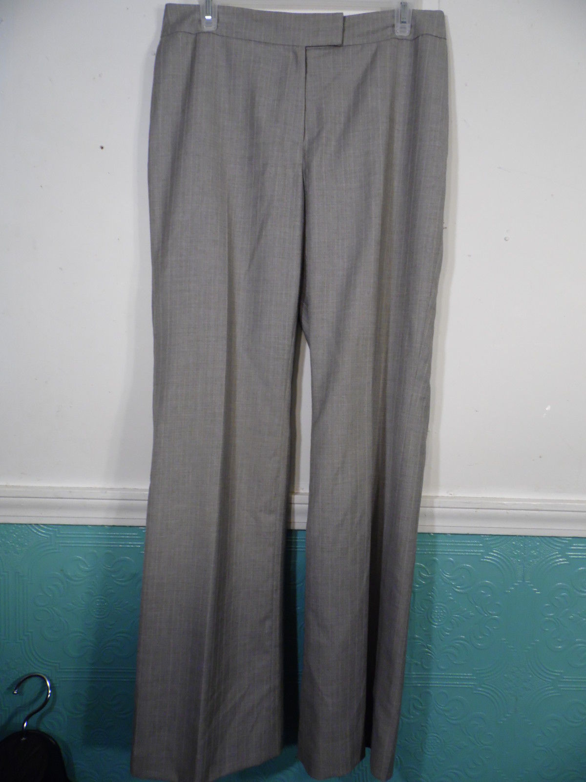 Anne Klein 2 Size 8 Pant Suit Pin Stripe Brown Beige White Long Sleeve