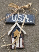Patriotic 713U - USA Hanging Birdhouse Wood - $3.95
