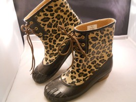 Sperry Top Sider Leopard Print Rubber Boot Size 6 Womens - $28.04