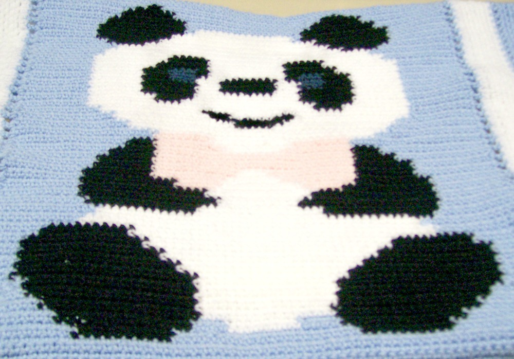 Crochet Baby Panda Blanket, Handmade, Baby Bedding, Shower Gift, Crib Blanket