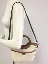 FOSSIL Small Shoulder Bag Handbag Ivory Basketweave Fabric Striped Lining - $22.52